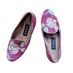 Zalo Shoes, Leather Floral Tapestry Flats